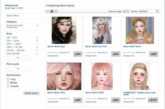 Residents beware, Copybotter selling Mesh Head on Marketplace using